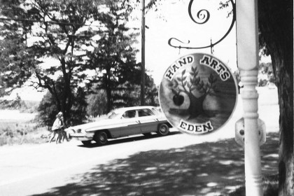 Eden Hand Arts sign, circa 1965.